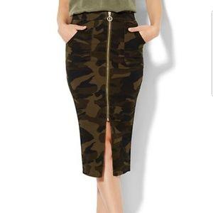 NY&Company Zip-front Camouflage Skirt